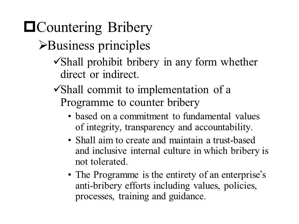 Countering Bribery Business principles