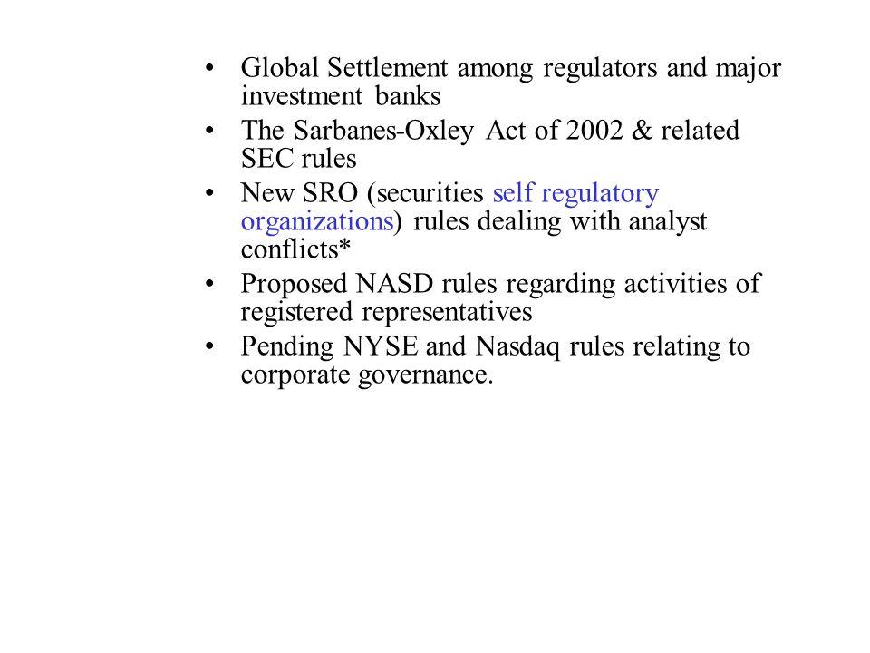 Global Settlement among regulators and major investment banks