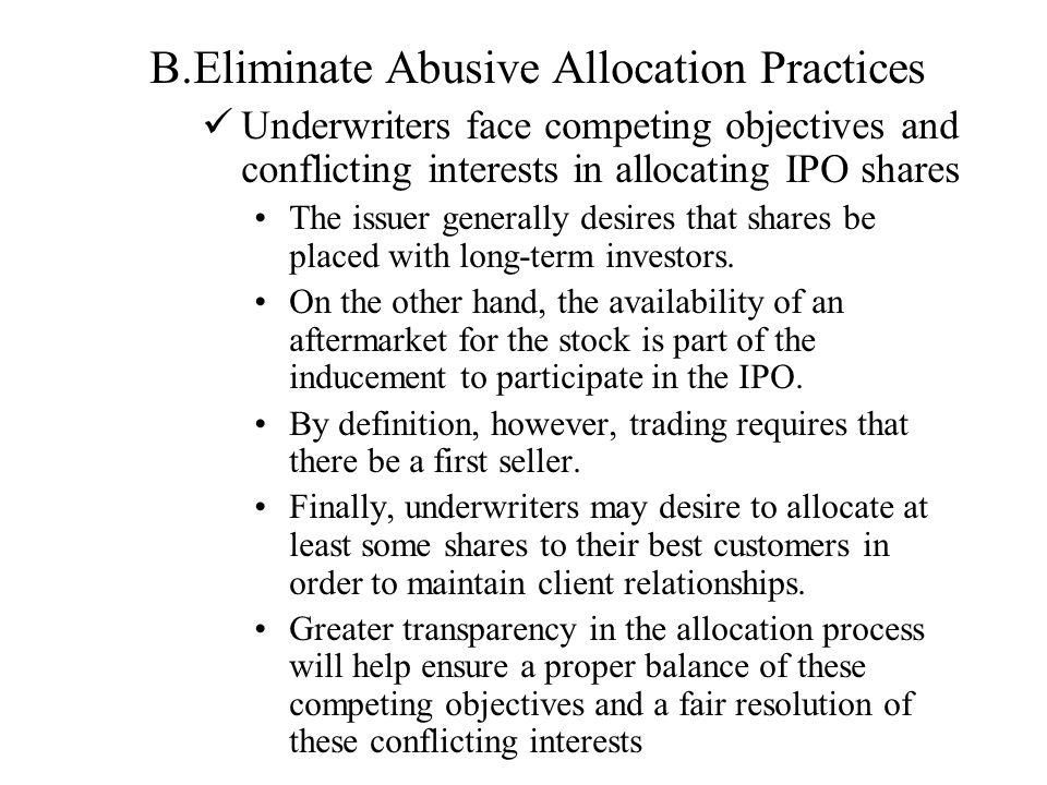 Eliminate Abusive Allocation Practices