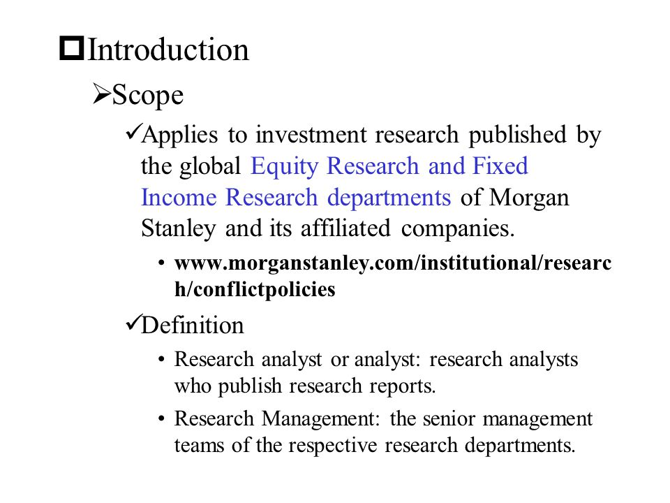 Introduction Scope.