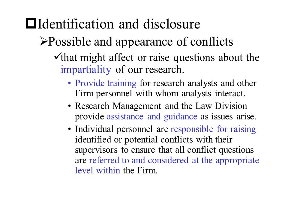 Identification and disclosure