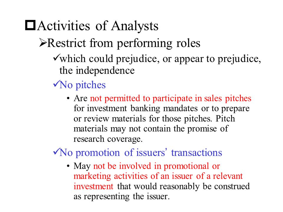 Activities of Analysts
