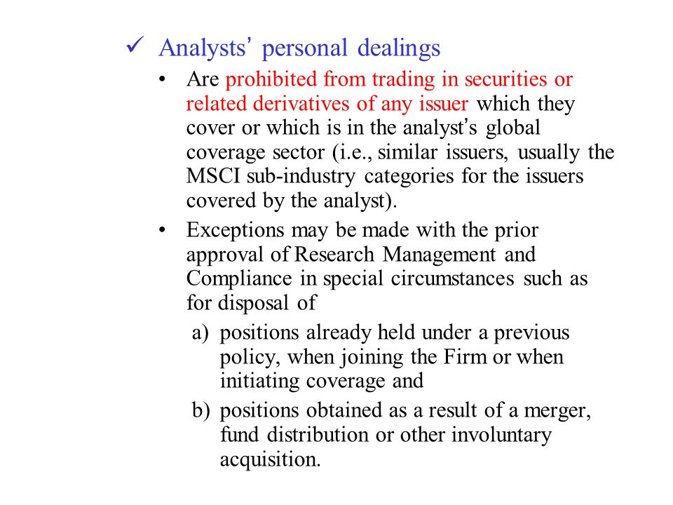 Analysts' personal dealings