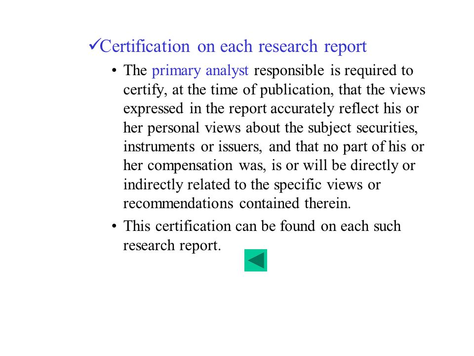 Certification on each research report