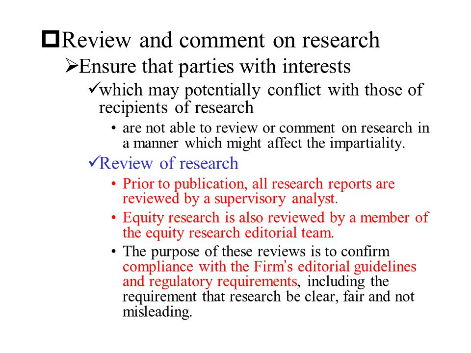 Review and comment on research