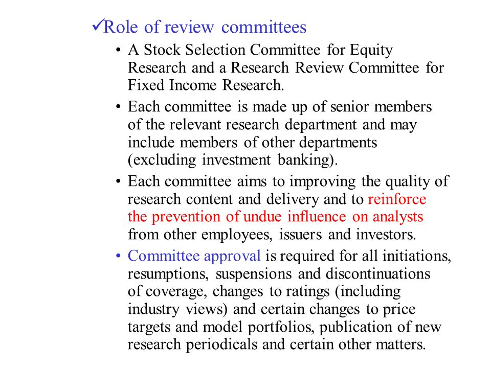 Role of review committees