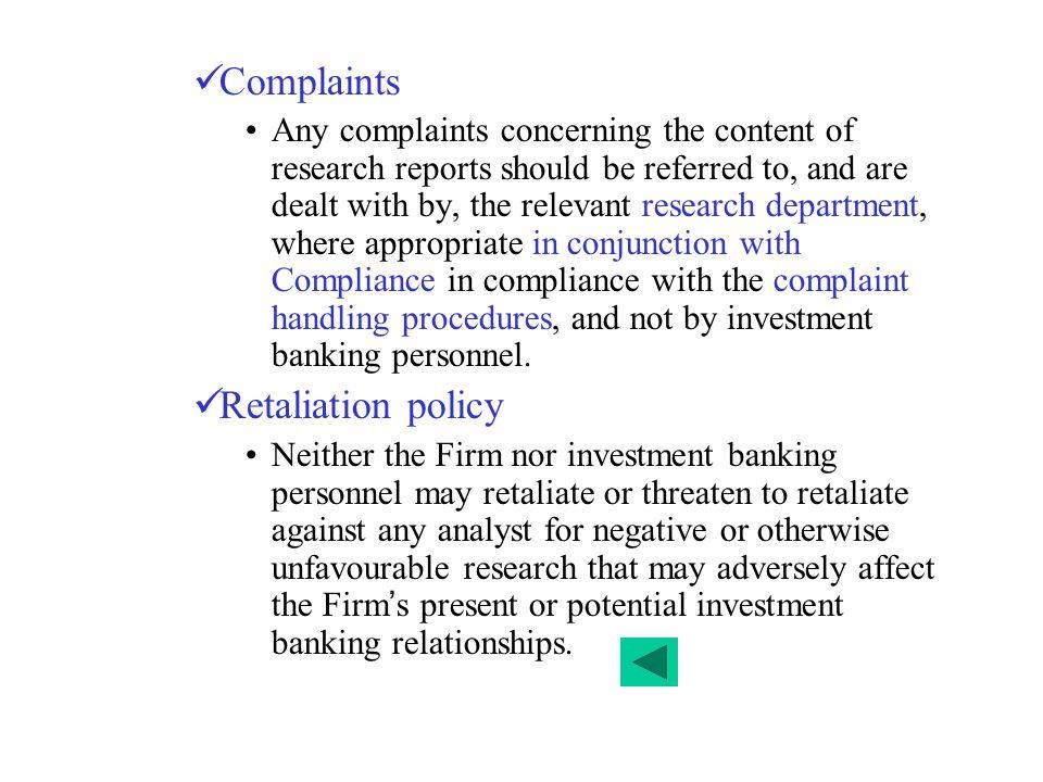 Complaints Retaliation policy