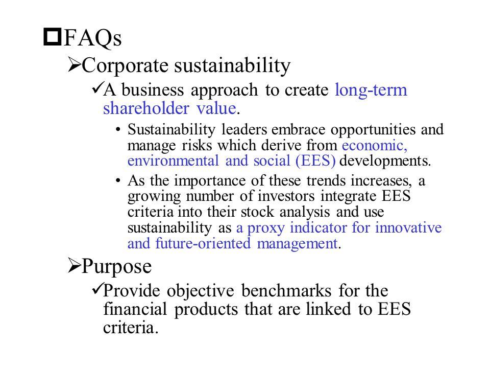 FAQs Corporate sustainability Purpose
