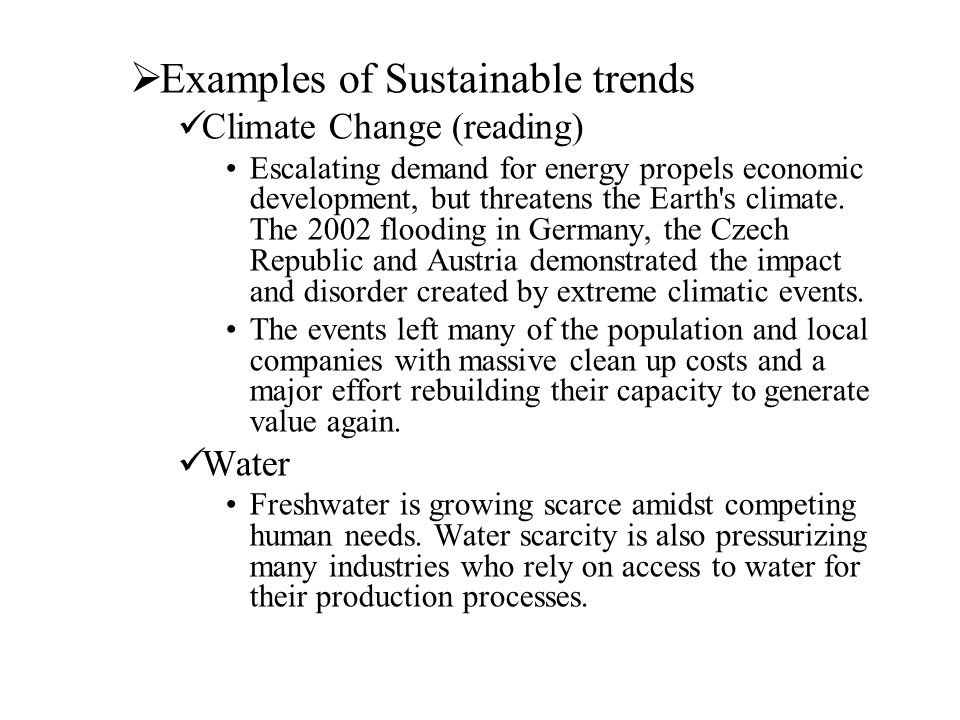 Examples of Sustainable trends