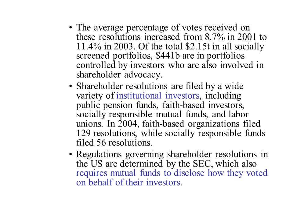 The average percentage of votes received on these resolutions increased from 8.7% in 2001 to 11.4% in 2003. Of the total $2.15t in all socially screened portfolios, $441b are in portfolios controlled by investors who are also involved in shareholder advocacy.