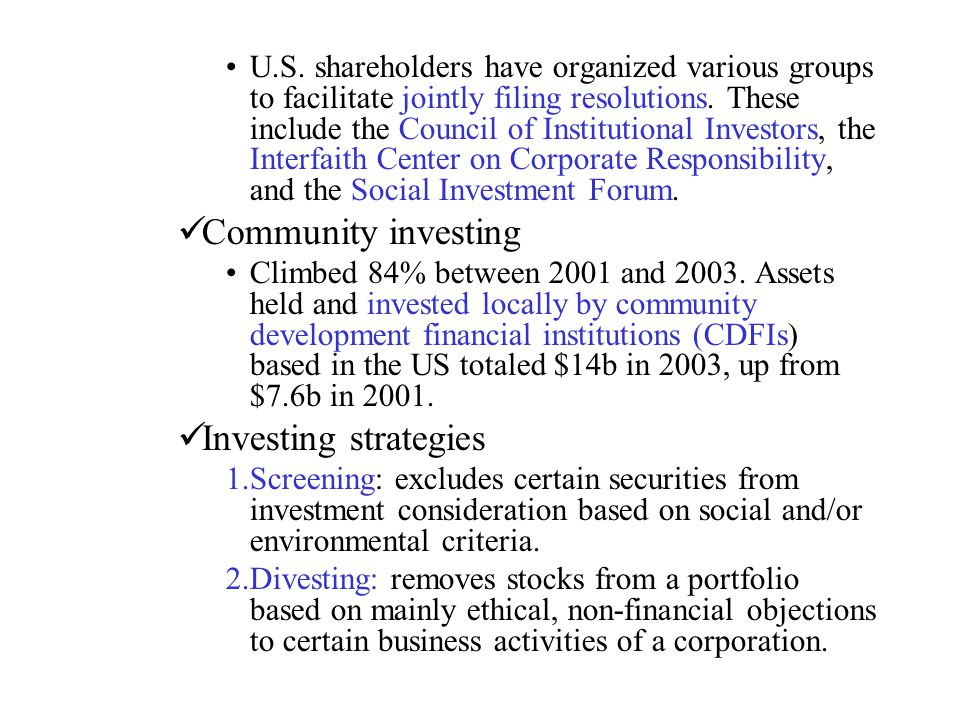 Community investing Investing strategies