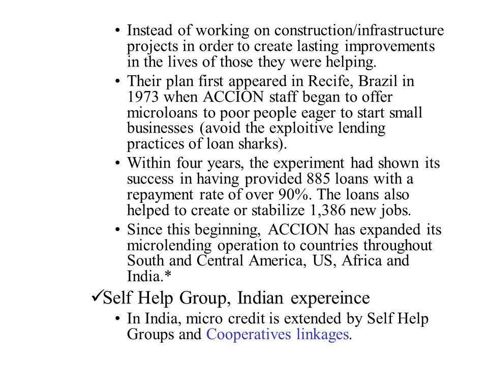 Self Help Group, Indian expereince