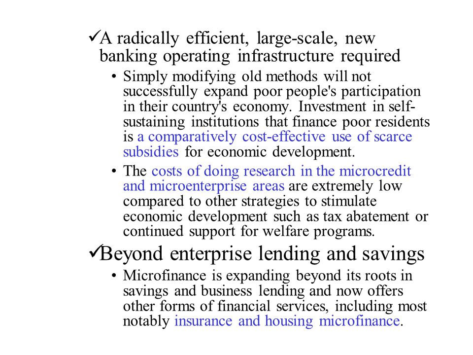 Beyond enterprise lending and savings