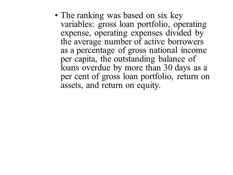 The ranking was based on six key variables: gross loan portfolio, operating expense, operating expenses divided by the average number of active borrowers as a percentage of gross national income per capita, the outstanding balance of loans overdue by more than 30 days as a per cent of gross loan portfolio, return on assets, and return on equity.