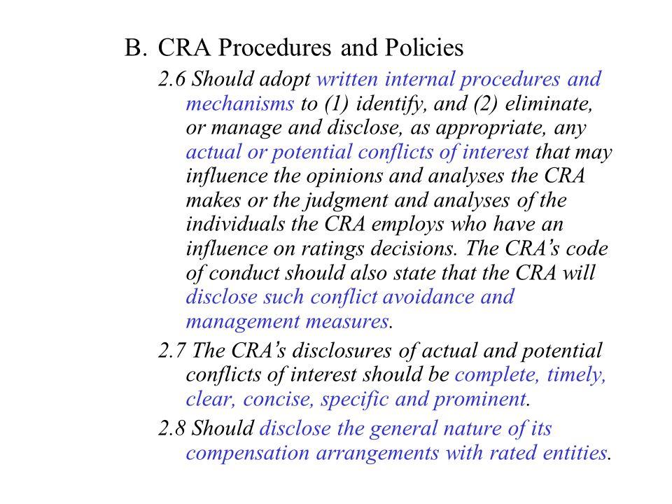 CRA Procedures and Policies
