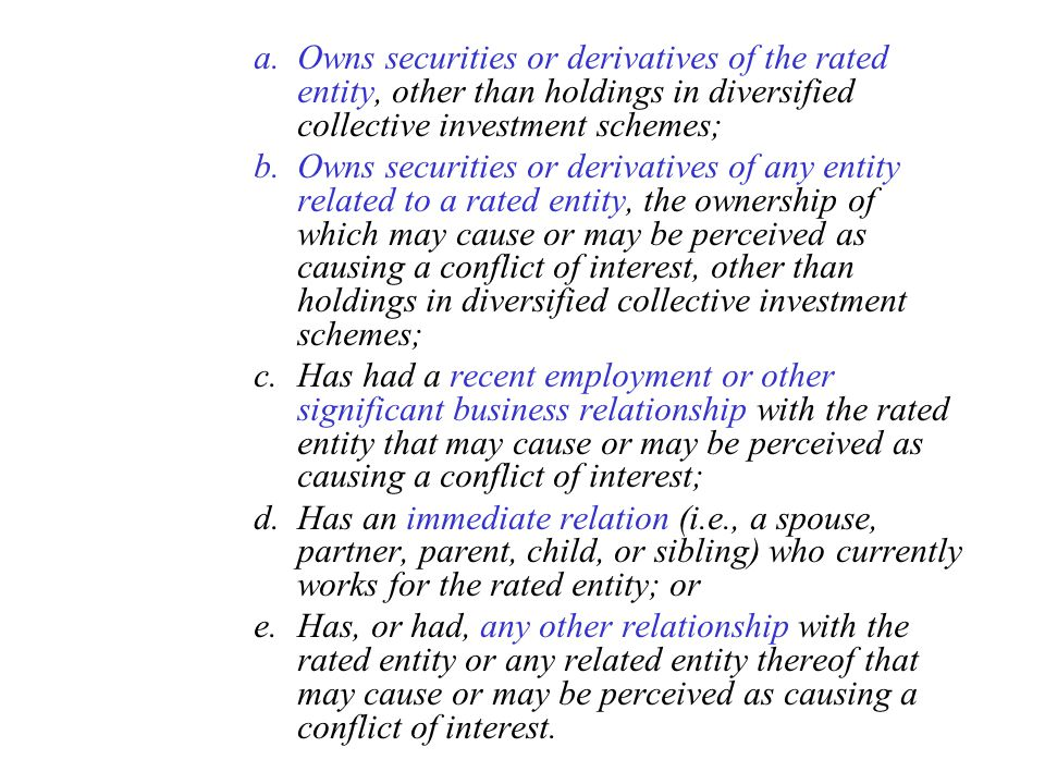 Owns securities or derivatives of the rated entity, other than holdings in diversified collective investment schemes;