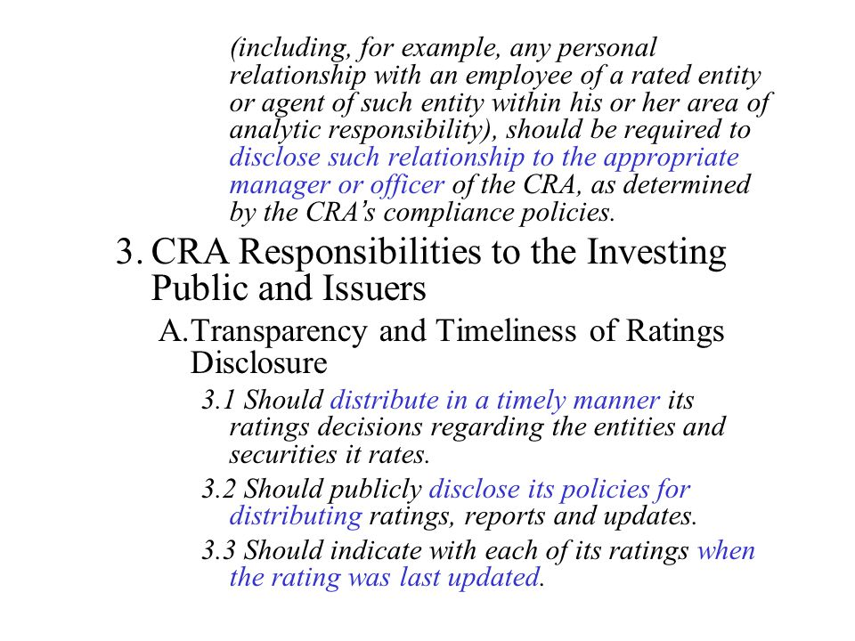 CRA Responsibilities to the Investing Public and Issuers