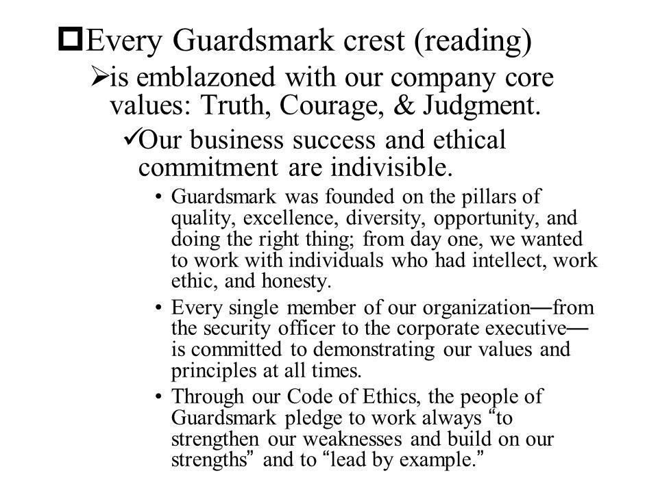 Every Guardsmark crest (reading)