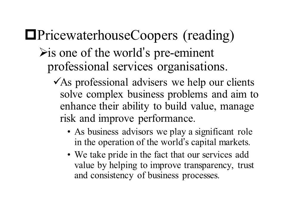 PricewaterhouseCoopers (reading)
