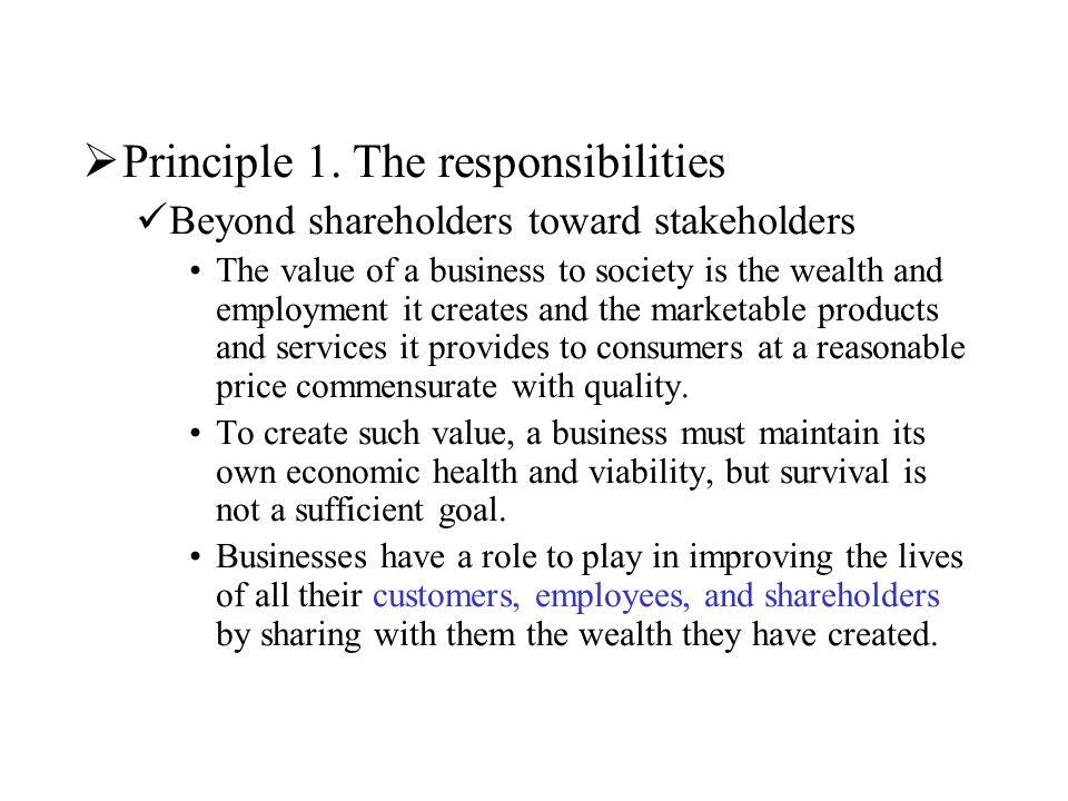 Principle 1. The responsibilities