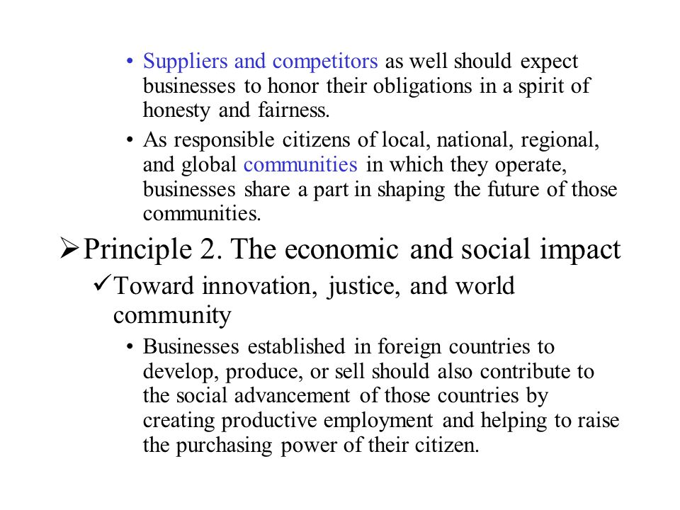 Principle 2. The economic and social impact