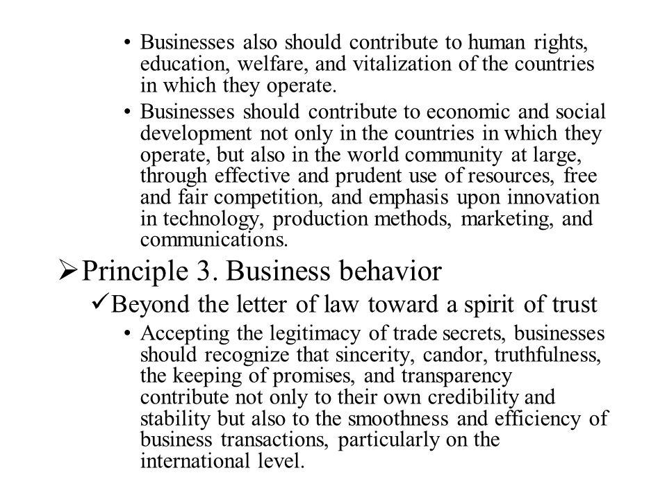 Principle 3. Business behavior