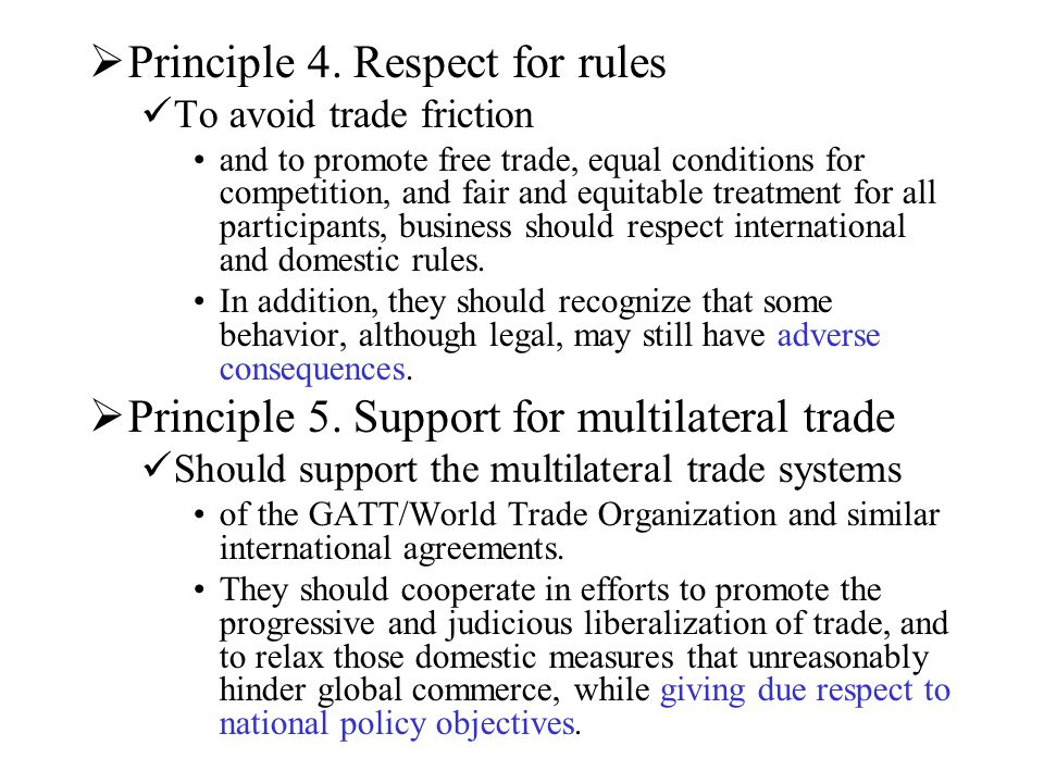 Principle 4. Respect for rules