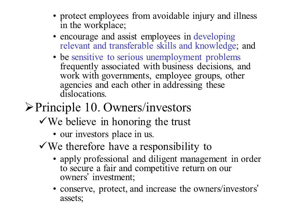 Principle 10. Owners/investors
