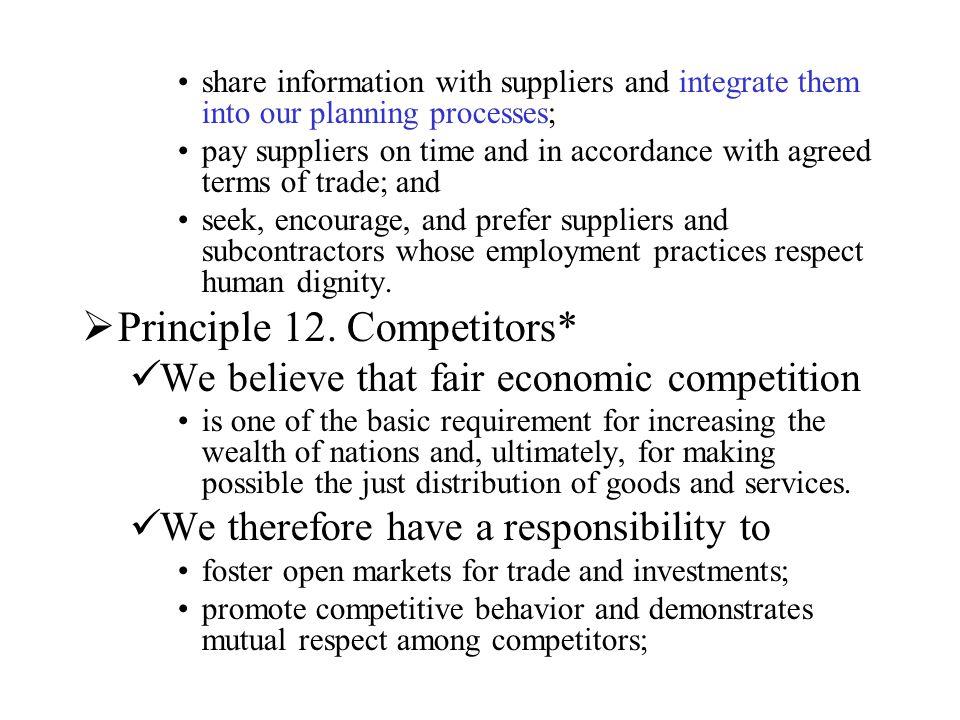Principle 12. Competitors*