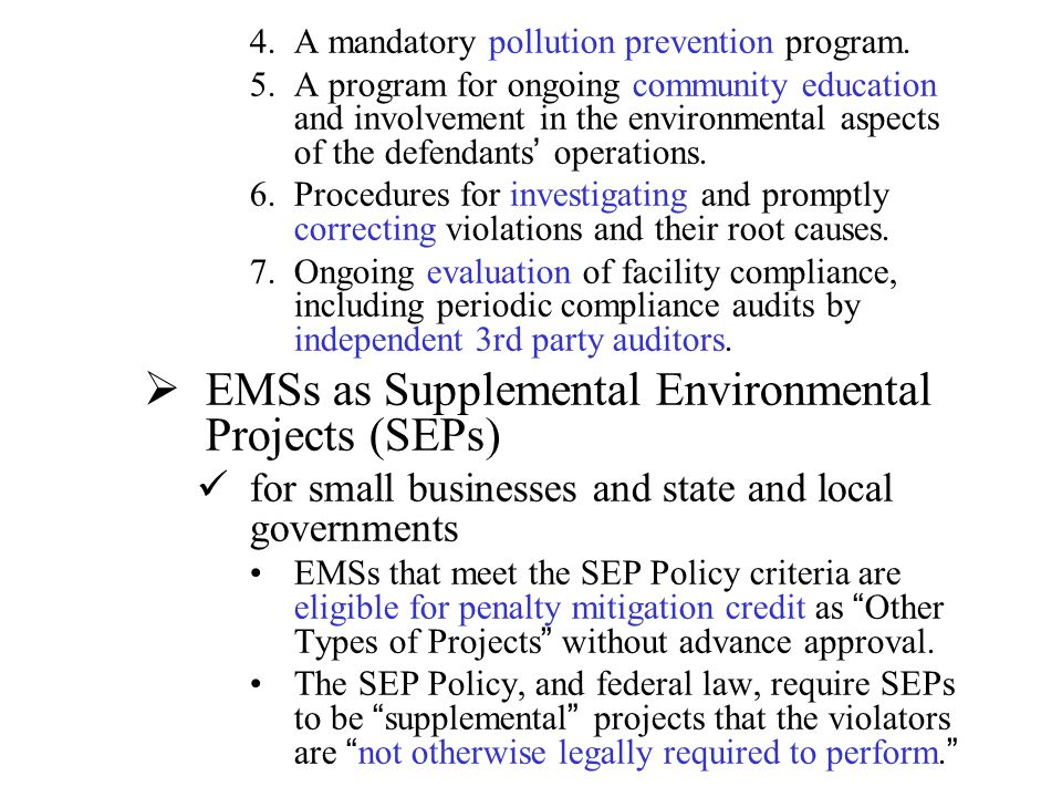 EMSs as Supplemental Environmental Projects (SEPs)