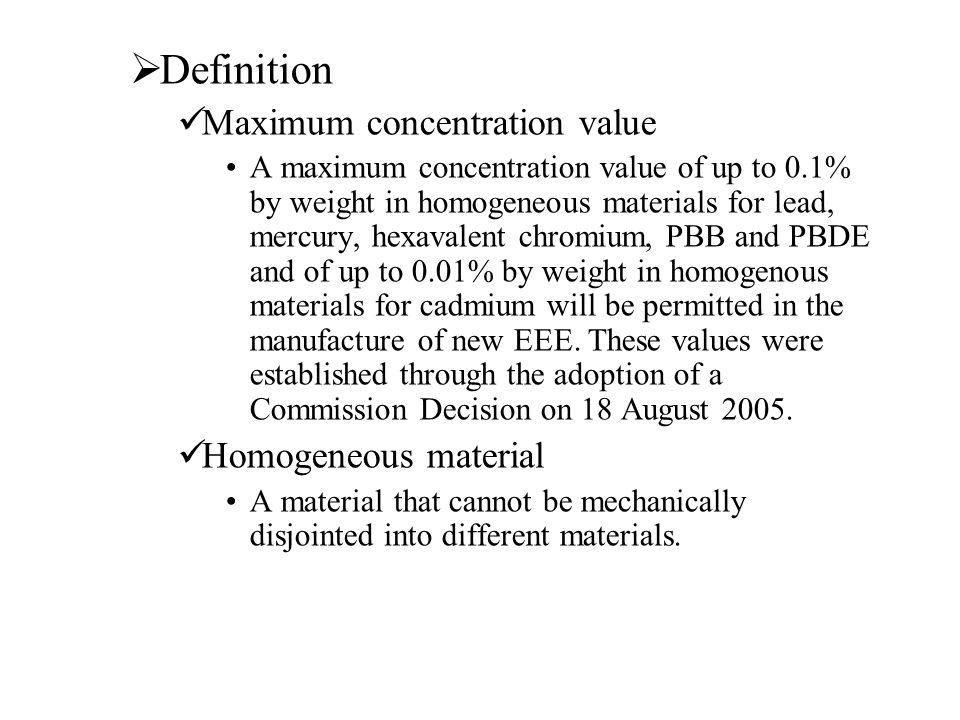 Definition Maximum concentration value Homogeneous material