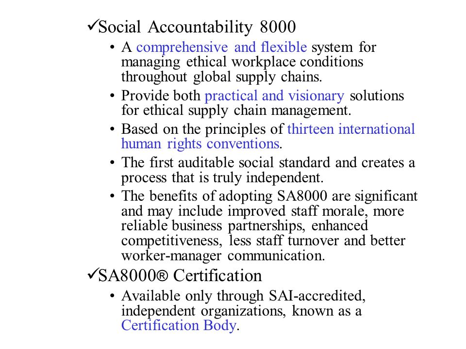 Social Accountability 8000