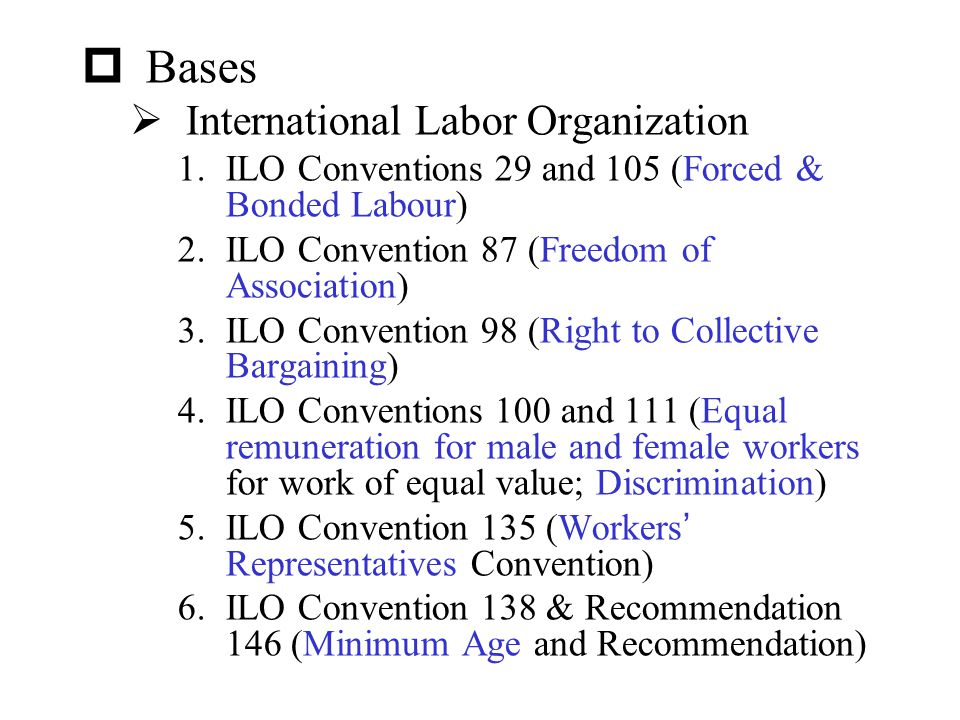 Bases International Labor Organization