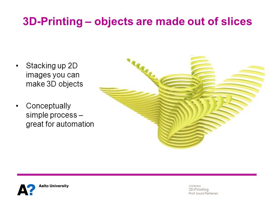 3D-Printing – objects are made out of slices