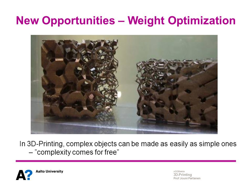 New Opportunities – Weight Optimization