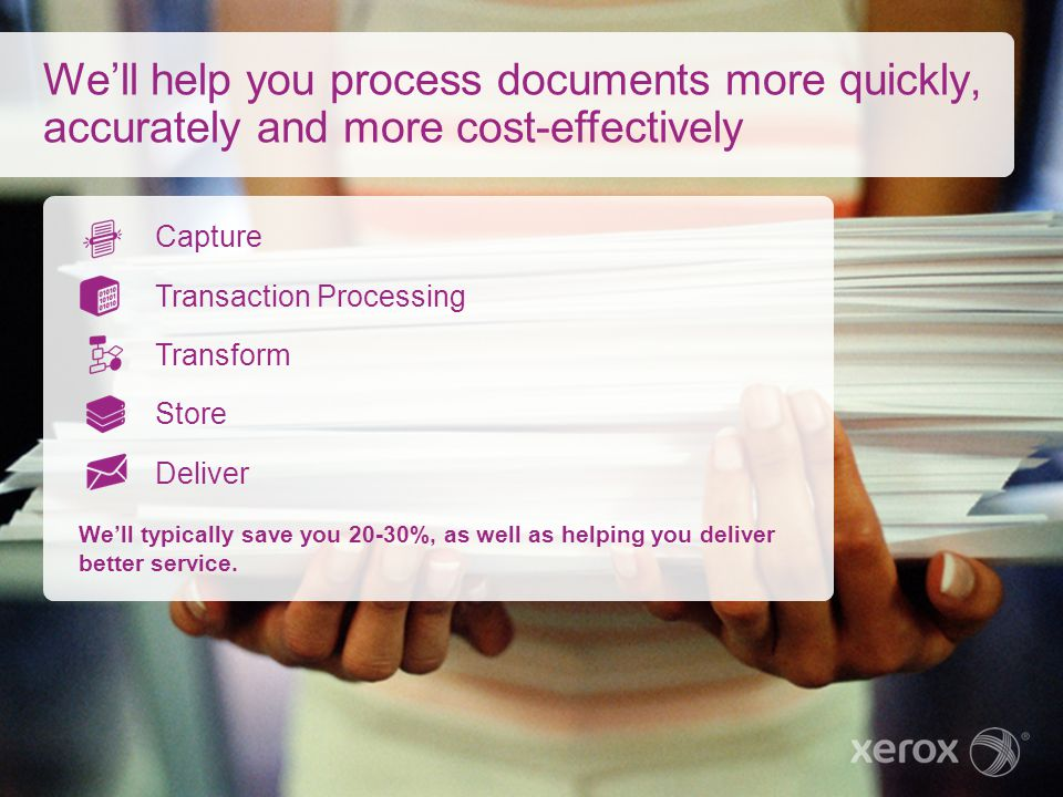 We'll help you process documents more quickly, accurately and more cost-effectively
