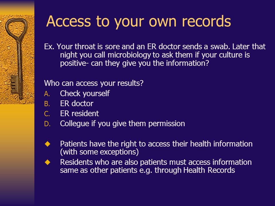 Access to your own records