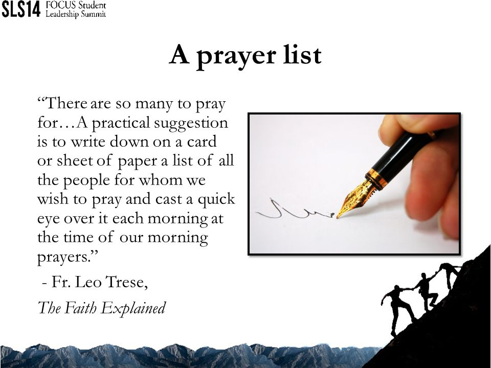 A prayer list