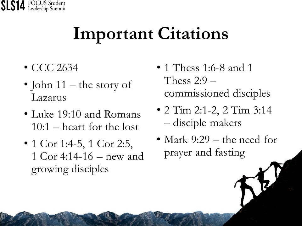 Important Citations CCC 2634 John 11 – the story of Lazarus
