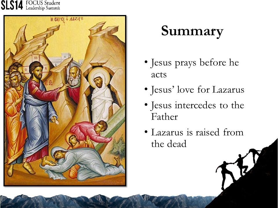 Summary Jesus prays before he acts Jesus' love for Lazarus