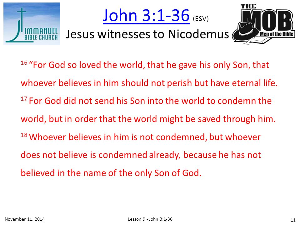 Jesus witnesses to Nicodemus