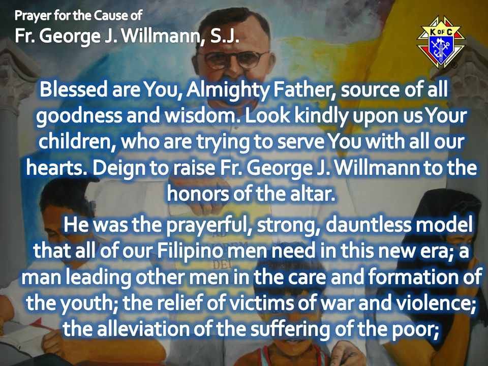 Prayer for the Cause of Fr. George J. Willmann, S.J.