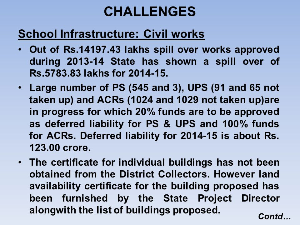 CHALLENGES School Infrastructure: Civil works