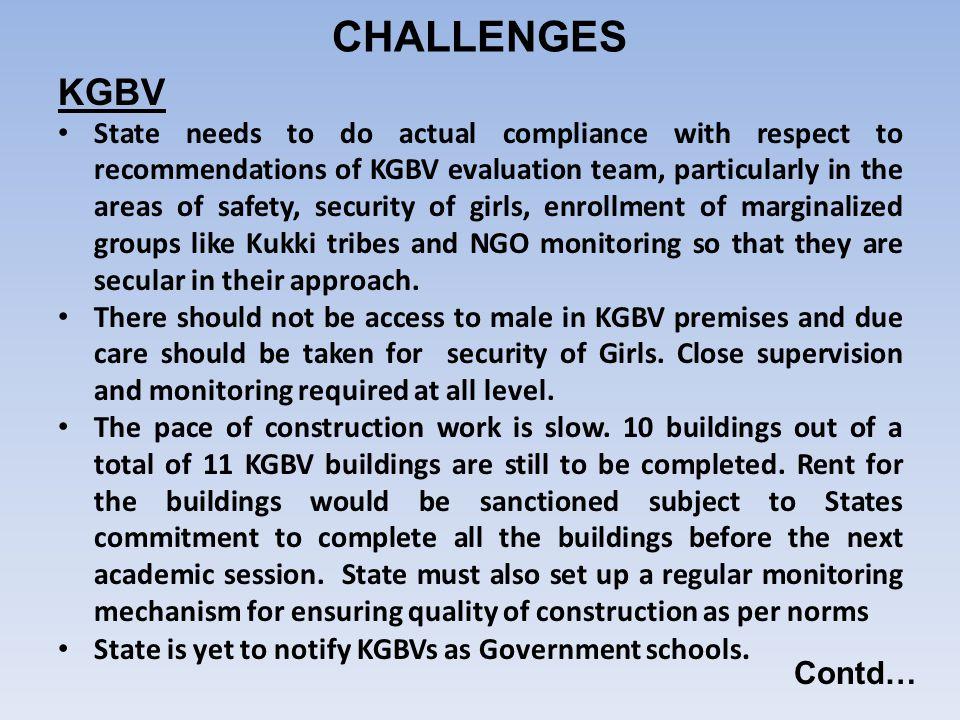 CHALLENGES KGBV Contd…