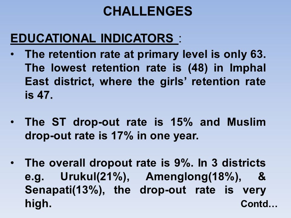 CHALLENGES EDUCATIONAL INDICATORS :