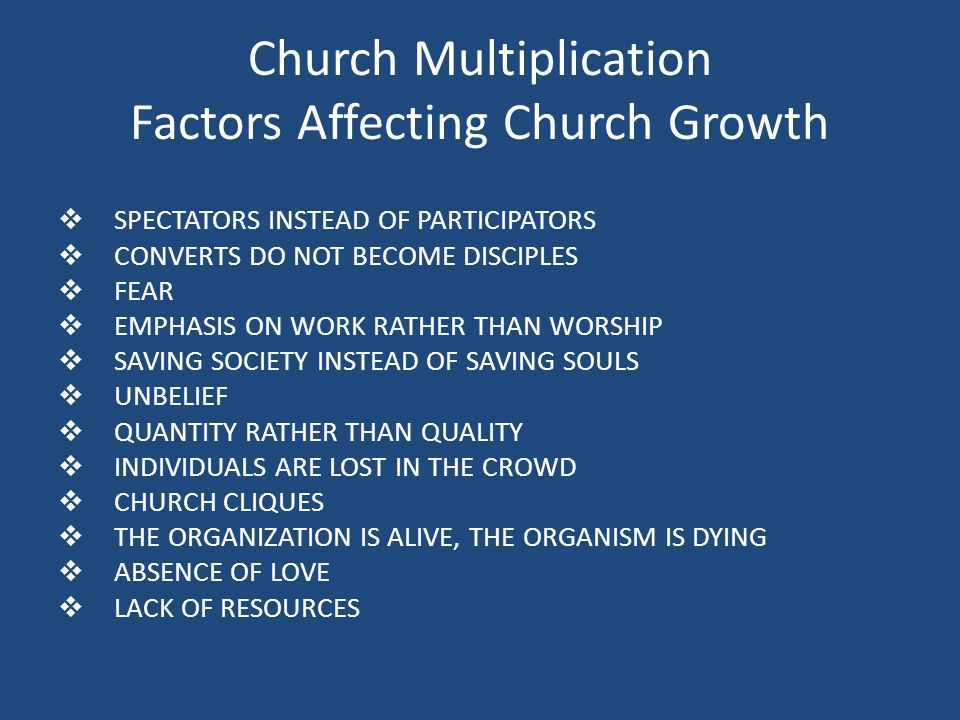 Church Multiplication Factors Affecting Church Growth