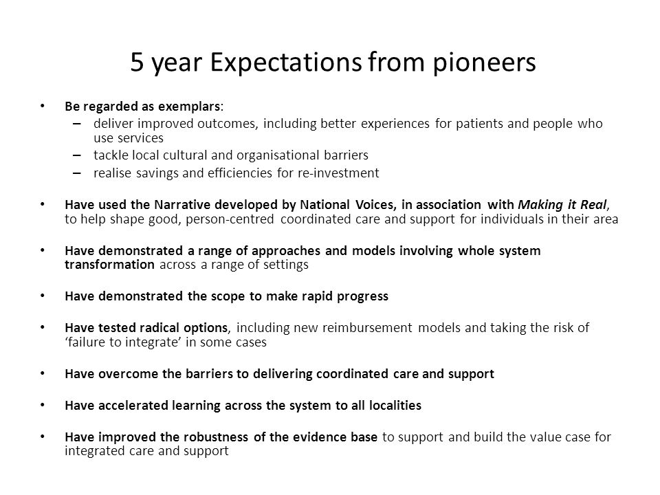 5 year Expectations from pioneers