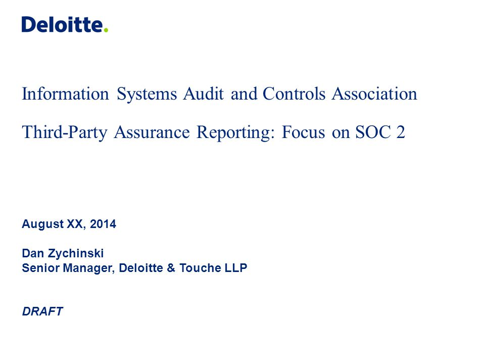 Table of contents Overview of third-party assurance reporting AT 101, 201, and 601 reports SOC 1, 2, and 3 reports SOC 2 deep-dive