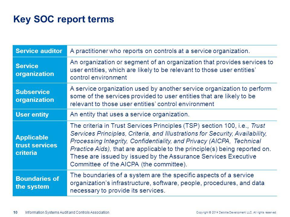 Key SOC report terms (cont.)