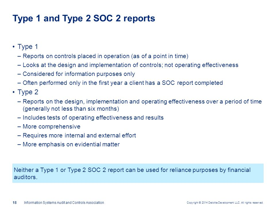 SOC 2 reports — benefits Reports can be referenced by boards as part of their oversight responsibility of service providers.
